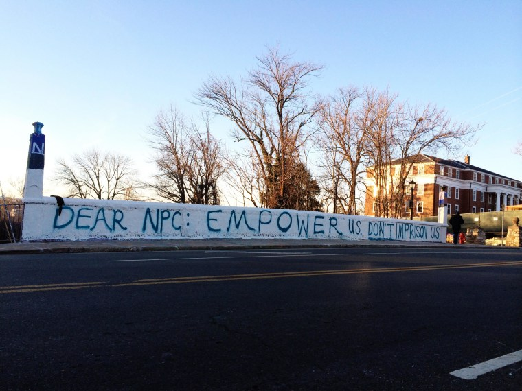Image: A message was painted on Beta Bridge Saturday after a controversial request for UVA Sorority members to skip the evening's fraternity activities surrounding 'men's bid night'