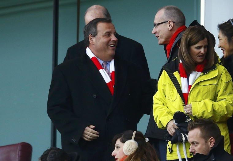 Image: Governor of New Jersey Chris Christie attends Arsenal's Aston English Premier League soccer match against Aston Villa in London