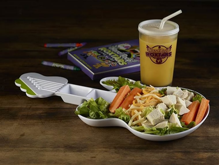 Lettuce, shredded cheese, chicken and carrot sticks comprise Hard Rock Cafe's Chillin' With Chicken Salad.