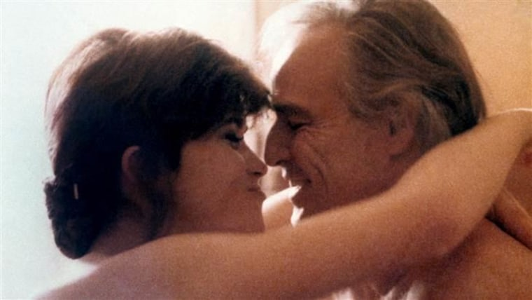 "Maria Schneider and Marlon Brando in ""Last Tango in Paris."""