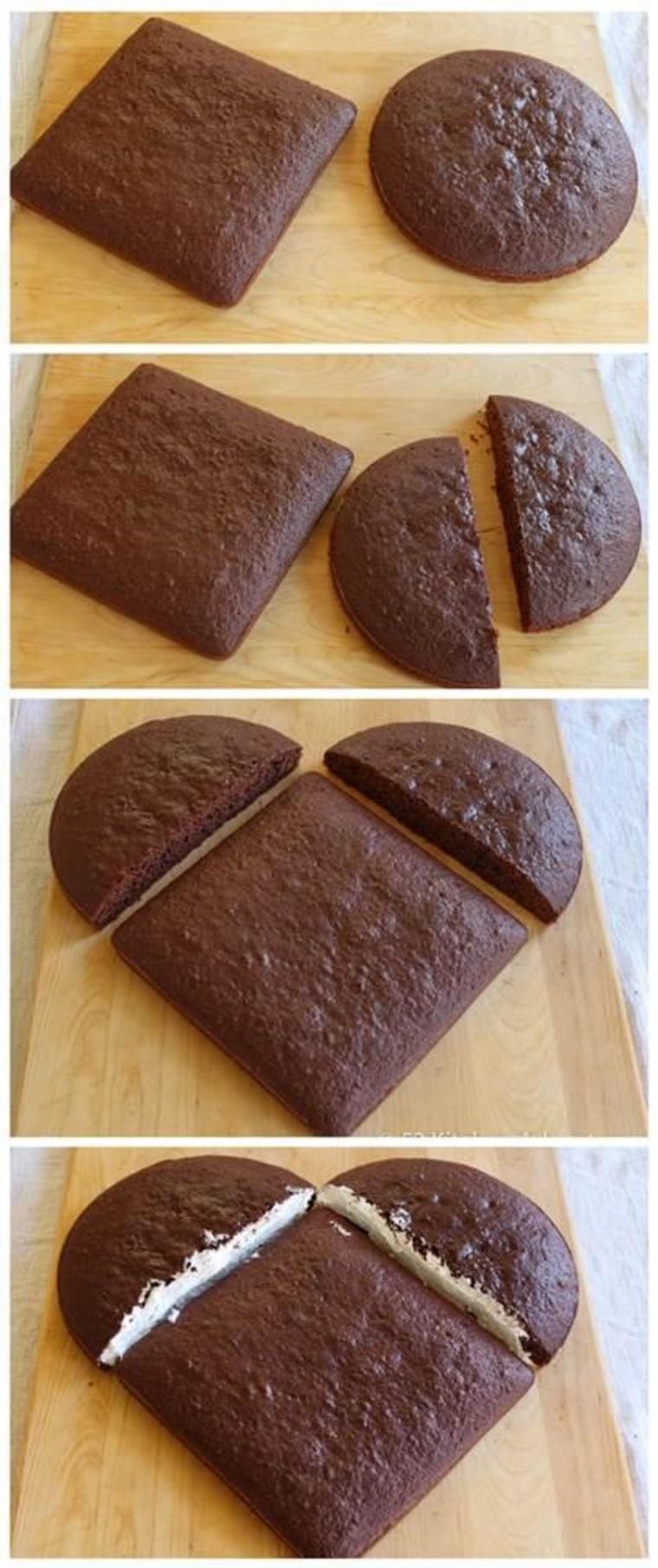 Heart Shaped Cake Steps