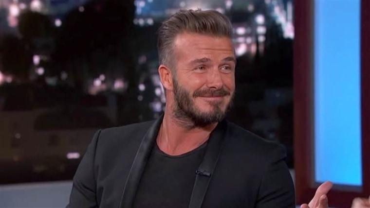 David Beckham describes his domestic bliss to Jimmy Kimmel.