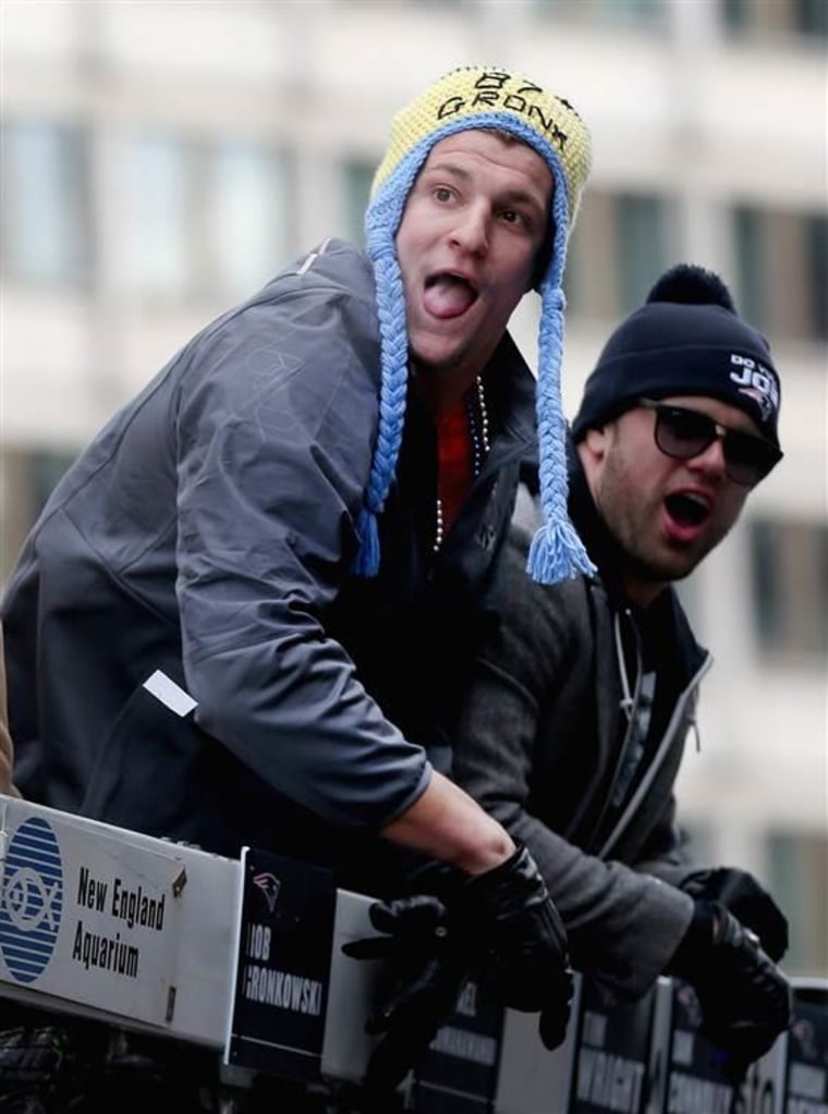 Rob Gronkowski and his hat had a great time at Wednesday's Super Bowl parade.