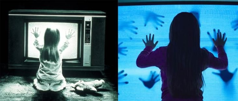 "TV's bad for your eyes, and for other parts of your body too, in ""Poltergeist"" (1982 version to the left, 2015 to the right)."