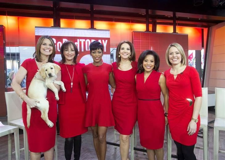 The women of TODAY wear red in support of women's heart health (Wrangler shows his support too.)