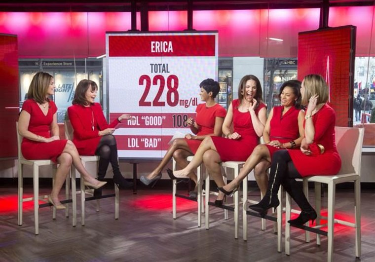 In support of women's heart health, Savannah Guthrie and Dr. Nancy Snyderman reveal the cholesterol levels of Tamron Hall, Erica Hill, Sheinelle Jones and Dylan Dreyer.