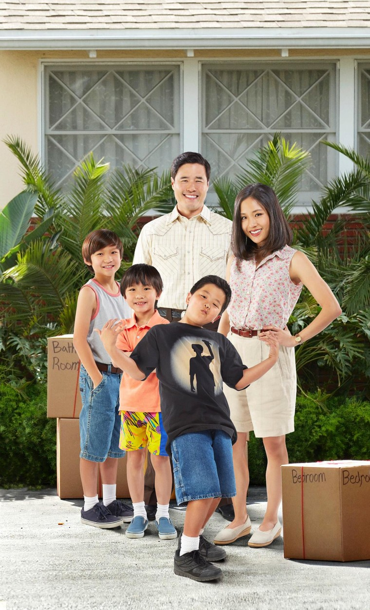 """""""Fresh Off the BoaAt"""" stars Forrest Wheeler as Emery, Ian Chen as Evan, Randall Park as Louis, Hudson Yang as Eddie and Constance Wu as Jessica."""