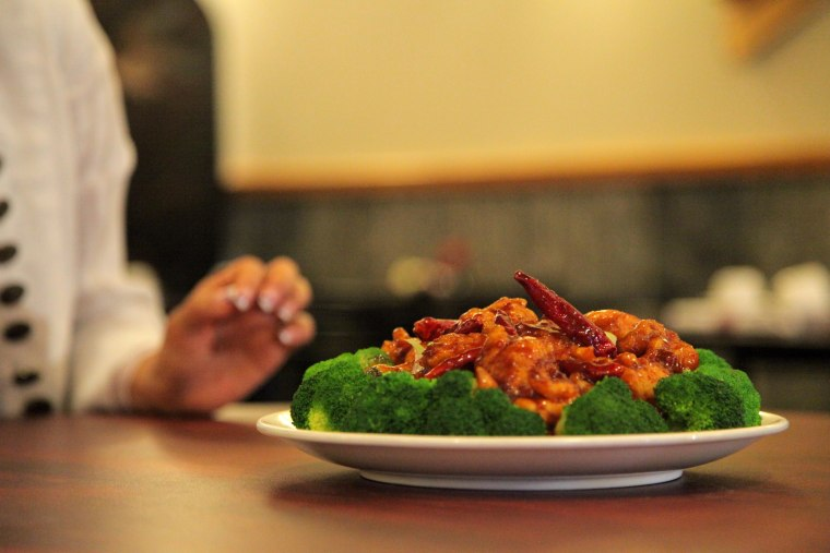 A platter of General Tso's Chicken at a menu photo shoot.