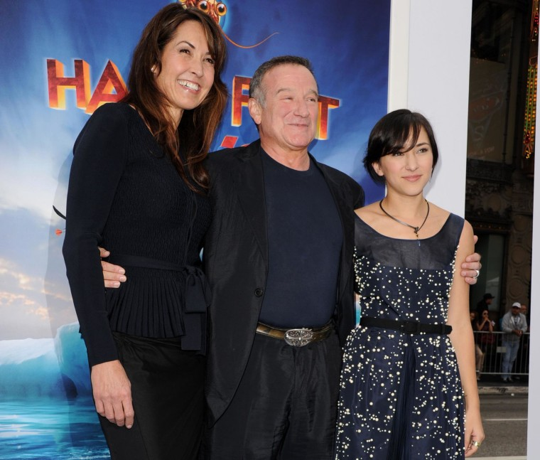 Image: Susan Schneider, actor Robin Williams, and actress Zelda Williams