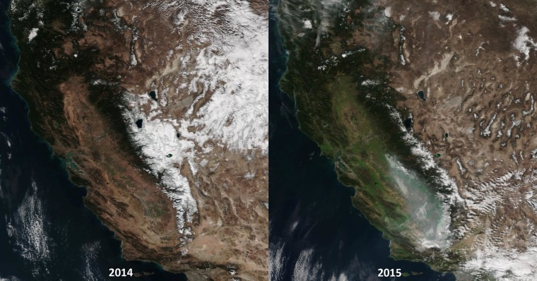 Image: Satellite images show California's Sierra Nevada on February 1, 2014 and January 31, 2015.