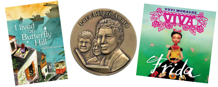 """Image: Two of the books that won the 2015 Pura Belpre Awards, """"I Lived On Butterfly Hill"""" and """"Viva Frida."""""""