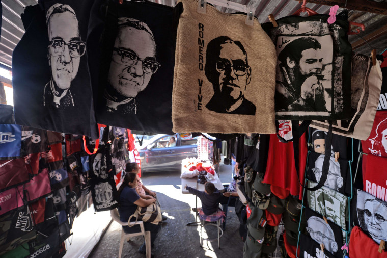 Stand with T-shirts and other products of Archbishop Oscar Romero, in the center of San Salvador on February 3, 2015. Monsignor Romero was declared a martyr by the Francisco Pope in the Vatican. Photo: AFP / MARVIN RECINOSMarvin RECINOS/AFP/Getty Images