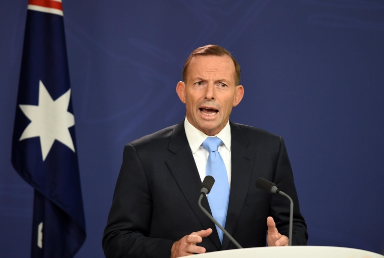 Australia's Prime Minister Tony Abbott speaks during a press conference in Sydney on February 6, 2015. Party critics of Australian Prime Minister Tony Abbott launched a dramatic bid on February 6 to unseat the unpopular conservative leader after less than 18 months in office, but he vowed to fight on. AFP PHOTO / Saeed KHANSAEED KHAN/AFP/Getty Images