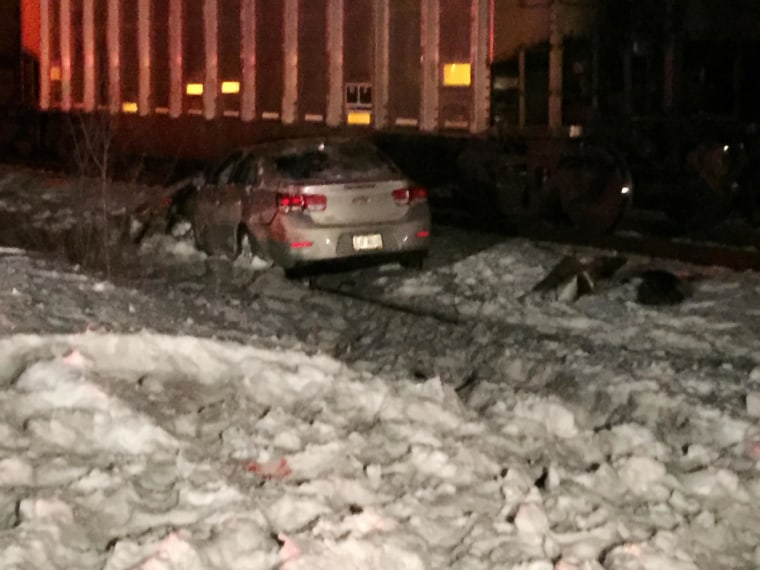 Image: Two people are dead after a car was hit by two trains in Lorain County.