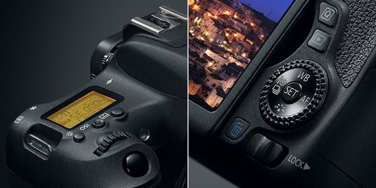 The control dial and top LCD are normally only found on more expensive cameras.