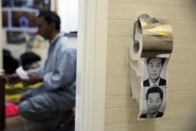 Image: HONG KONG-CHINA-POLITICS-DEMOCRACY-TOILETPAPER-OFFBEAT-FILES
