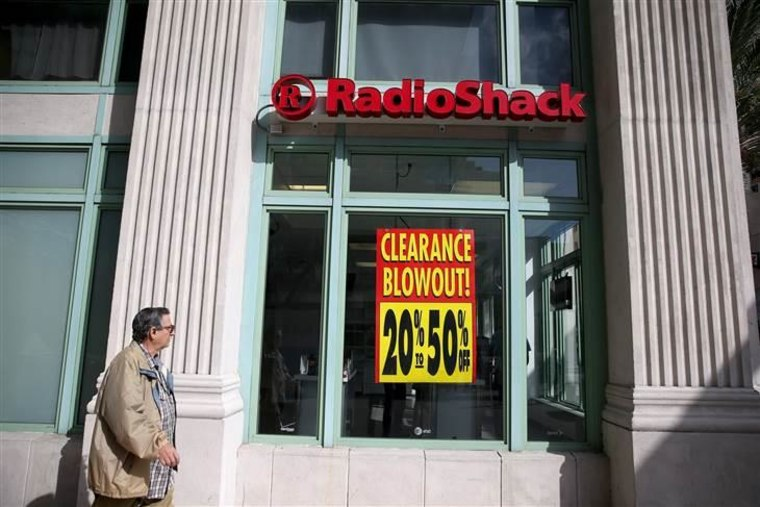 FILE - FEBRUARY 5:  According to reports February 5, 2015, RadioShack Corp. has filed for Chapter 11 bankruptcy. MIAMI, FL - FEBRUARY 03:  A sign read...