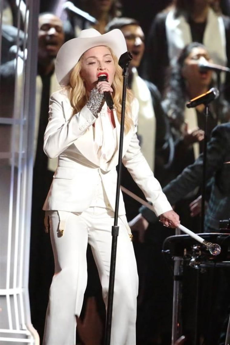 Madonna performs on stage at the 56th annual Grammy Awards on Jan. 26, 2014.