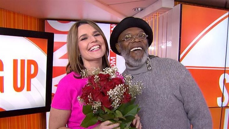 TODAY's Savannah Guthrie gets the gift of roses from guest Samuel L. Jackson.