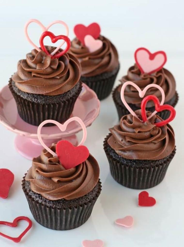 Chocolate Valentine's Heart Cupcakes