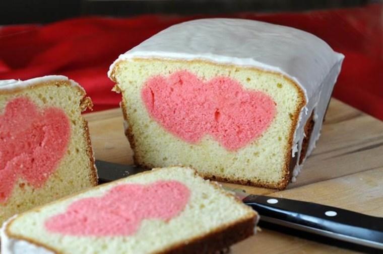 Valentine's peek-a-boo pound cake
