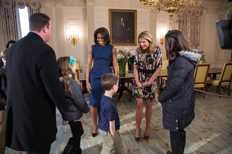 First Lady Michelle Obama and Jenna Bush Hager surprise guests on a tour of the White House.