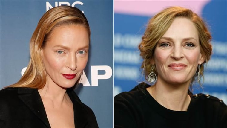 """Uma Thurman, seen here at this week's """"Slap"""" premiere party in New York (left), and at a press conference in Germany in 2014."""