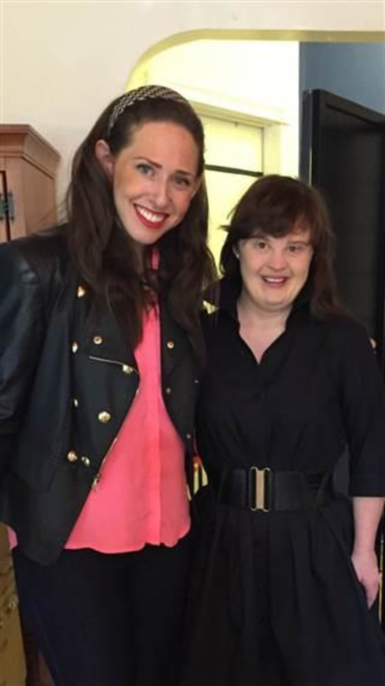 Carrie Hammer, the designer of the collection, with model and actress Jamie Brewer.