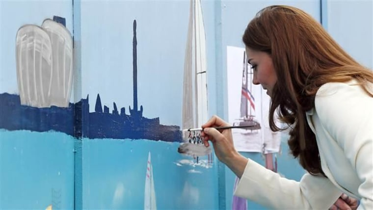 The Duchess of Cambridge adds her personal touch to a mural.