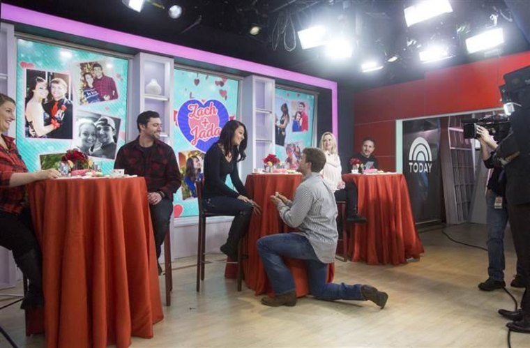 Zachari gets down on one knee to propose to his girlfriend, Jada.