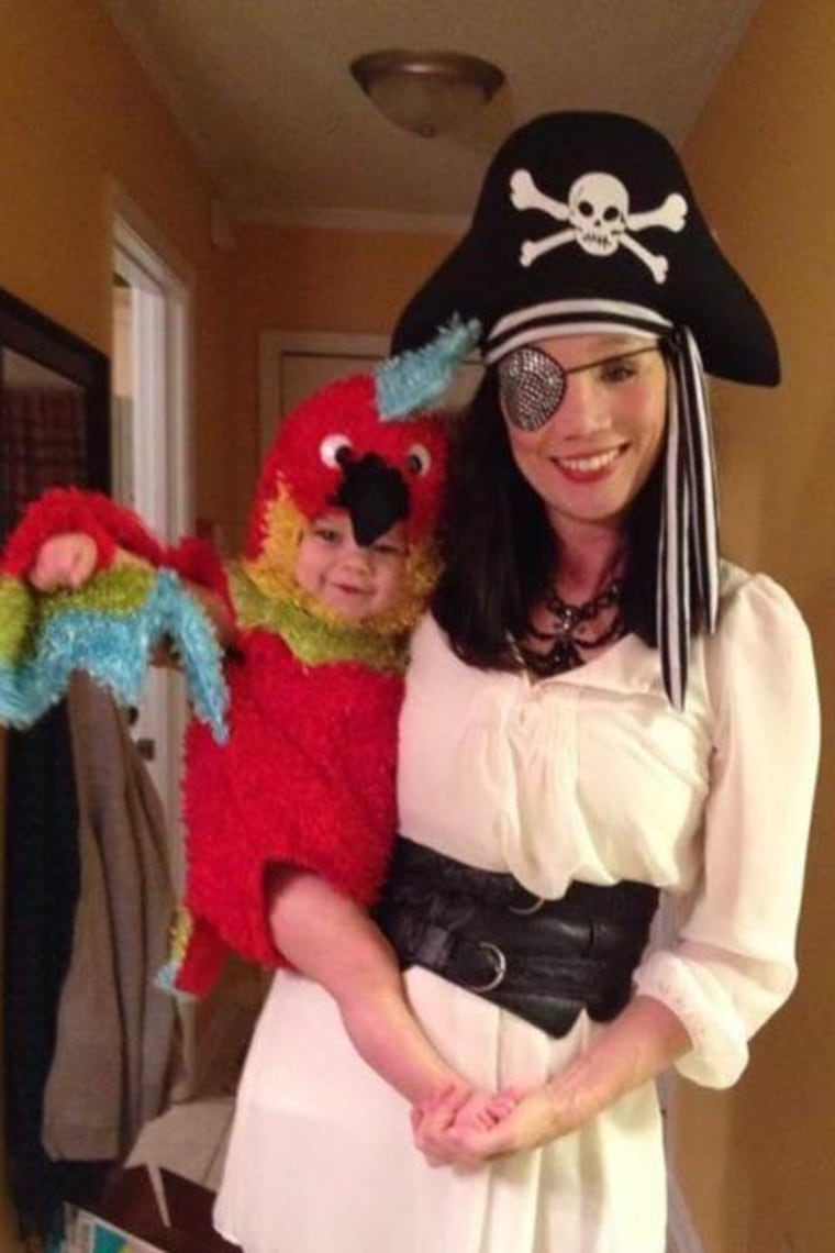 family halloween costumes pirate and parrot