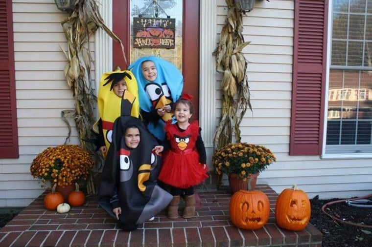 """How long will it last?: Jennifer Frederick Walters, whose kids donned Angry Birds attire last year, writes: """"I always theme my kids, while it lasts at least."""""""