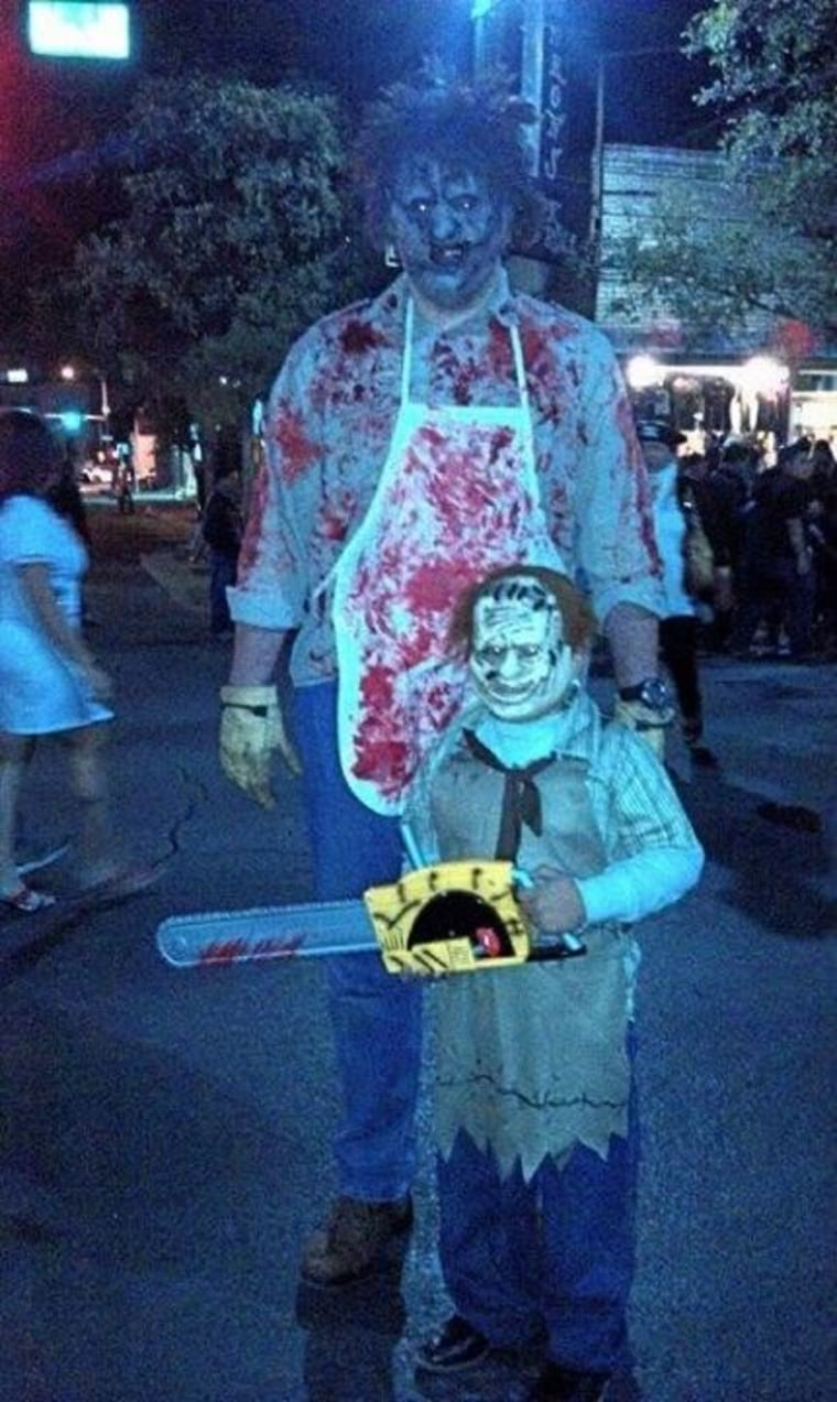 So I heard some lady yelling at me to get a picture. I stopped and to my surprise her son had an awesome costume as well.