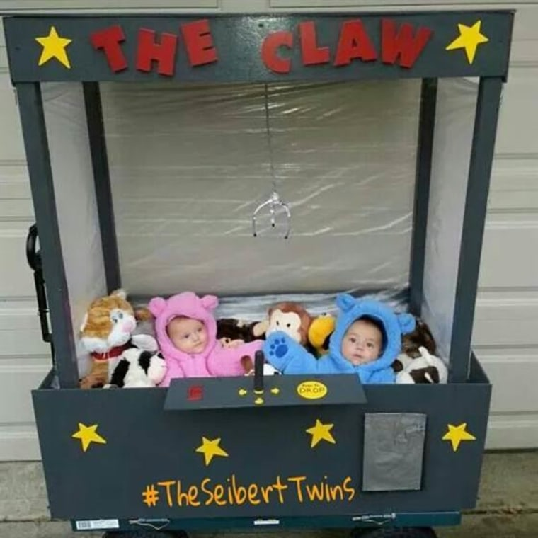 """Our twins Aubrey and Preston! Safe and warm in """"The Claw"""""""