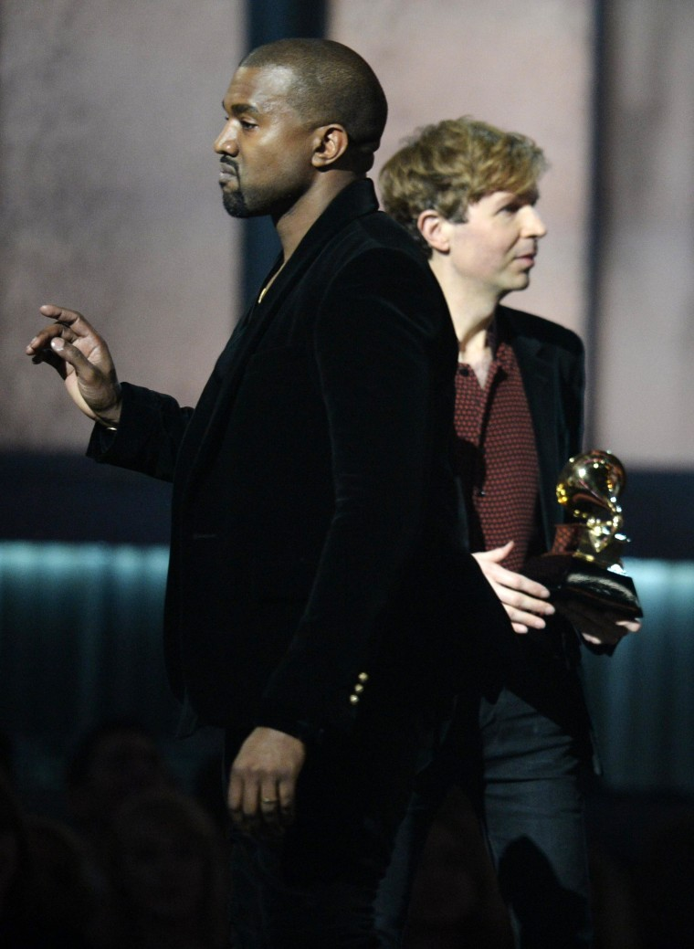 Image: Winner for Album Of The Year Beck reacts as Kanye West appears on stage