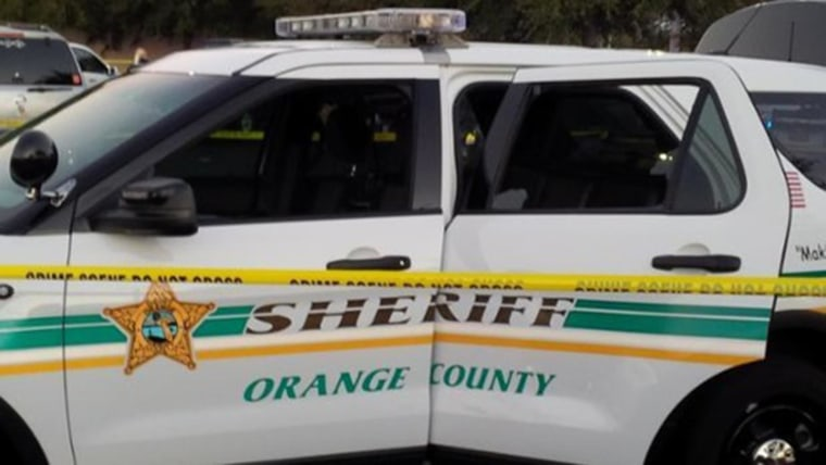 The Orange County, Florida, Sheriff's SUV with bullet holes in it after Sunday's gun battle is seen in this image posted to social media but the sheriff's office.