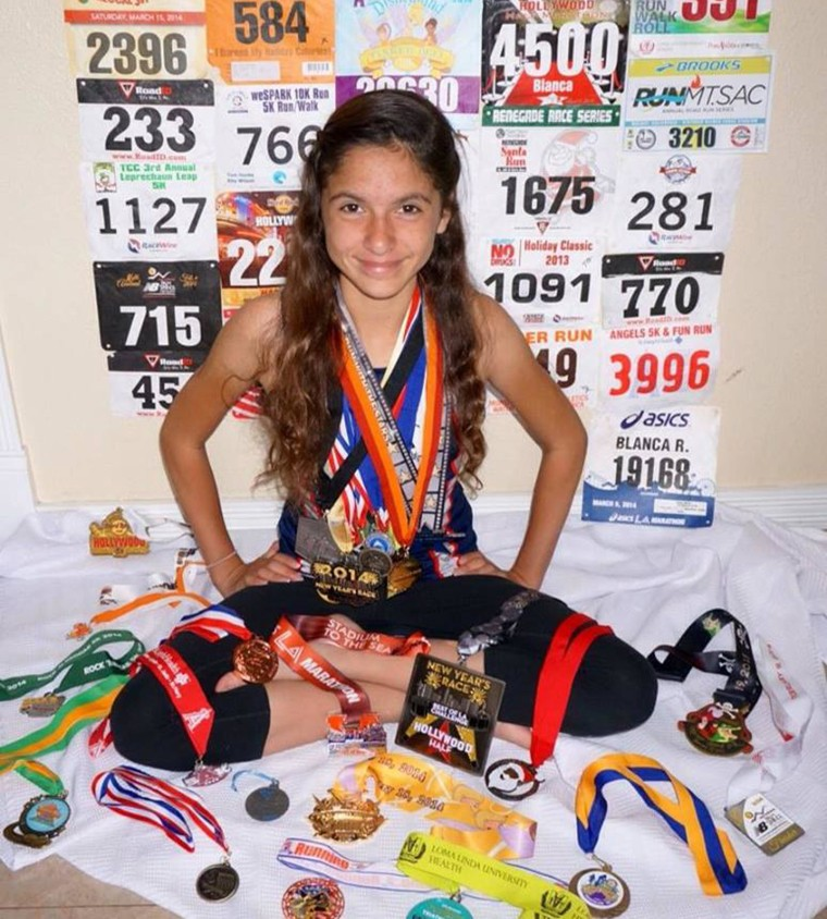Blanca Ramirez, 12, of La Puente, California, wants to beat the record and become the first girl to run marathons on all 7 continents.