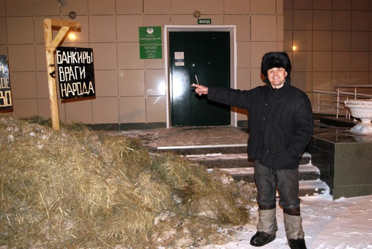 Irate farmer Alexander Bakshayev paid his loan to the bank by dumping a cartload of manure in front of its office. The manure costs exactly what he owes.