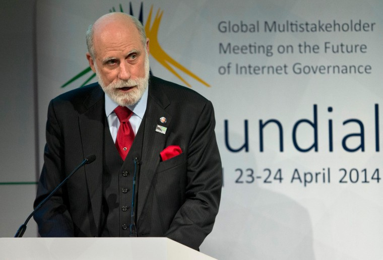 Computer scientist Vint Cerf addresses the opening ceremony of NETmundial, a major conference on the future of Internet governance in Sao Paulo, Brazil, on April 23, 2014. B