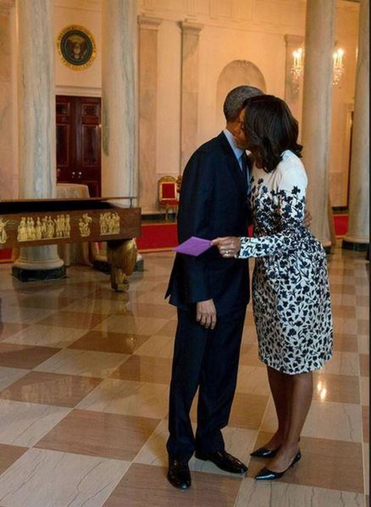 First lady Michelle sent President Obama a Valentine's Day message via Twitter on Saturday.
