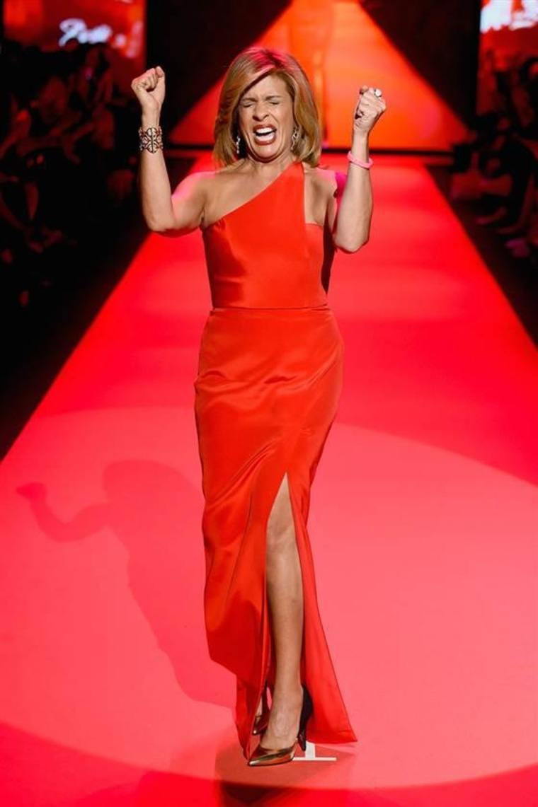 NEW YORK, NY - FEBRUARY 12:  Hoda Kotb walks the runway at the Go Red For Women Red Dress Collection 2015 presented by Macy's fashion show during Merc...