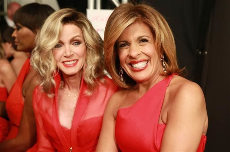 Donna Mills, left, and Hoda Kotb poses backstage at the Go Red For Women Red Dress Collection 2015 presented by Macy's during Mercedes-Benz Fashion We...