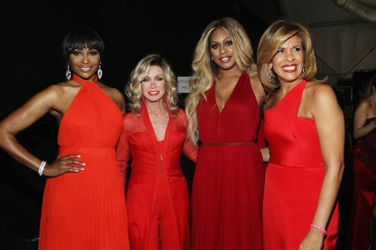 NEW YORK, NY - FEBRUARY 12:  (L-R) Cynthia Bailey, Donna Mills, Laverne Cox and Hoda Kotb pose backstage at the Go Red For Women Red Dress Collection ...