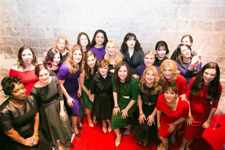 """Carrie Hammer (front and center in green) and the """"real models"""" featured in her runway show."""