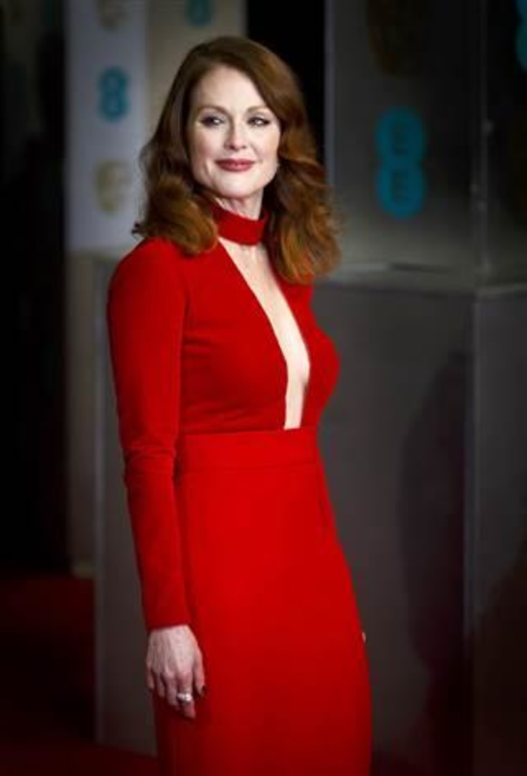 LONDON, ENGLAND - FEBRUARY 08:  Julianne Moore attends the EE British Academy Film Awards at The Royal Opera House on February 8, 2015 in London, Engl...