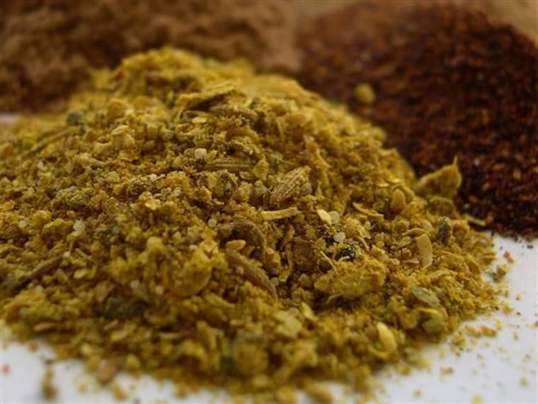 Spices - cumin, ground chilli powden, cinnamon, garam masala.