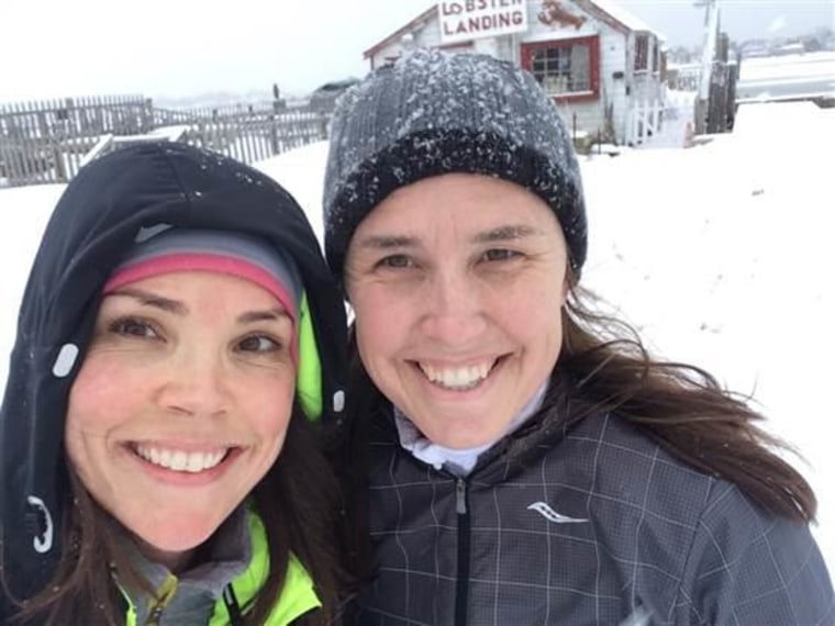 Erica Hill and her cousin, Dana Coffin, during a chilly February run.