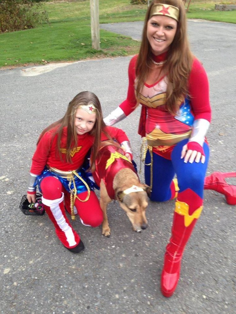 """We are Wonder Mom, Wonder Daughter, and Wonder Dog!"" Morgan Swinburne says."