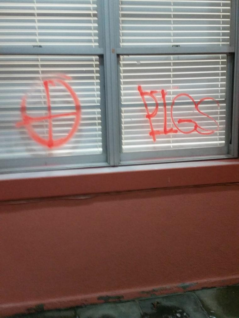 IMAGE: Graffiti at Rhode Island Muslim school