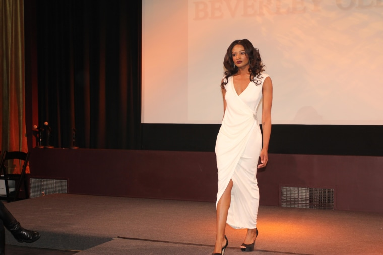 A Beverly Olivacce design during NYC Fashion Week, February 15, 2015.